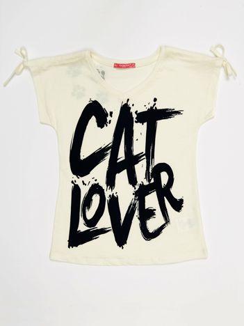 Ecru t-shirt dla dziewczynki CAT LOVER