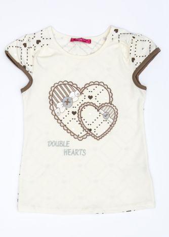 Ecru t-shirt dla dziewczynki z sercami