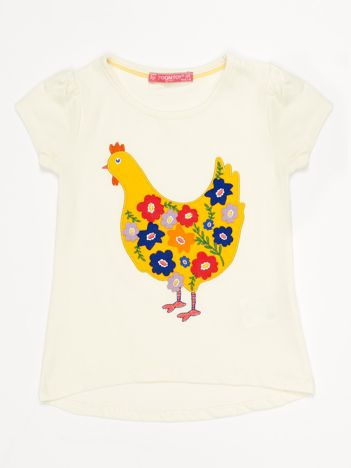 Ecru t-shirt dziewczęcy z naszywką kury
