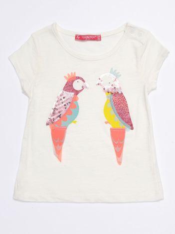 Ecru t-shirt niemowlęcy z papużkami