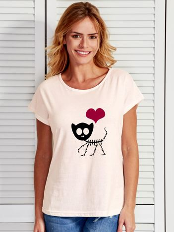 Ecru t-shirt z nadrukiem kotka Halloween