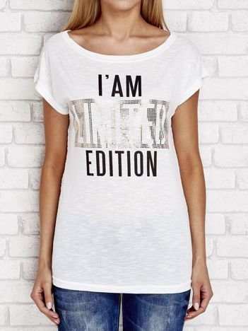 Ecru t-shirt z napisem I'AM LIMITED EDITION
