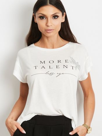 Ecru t-shirt z napisem MORE TALENT LESS EGO