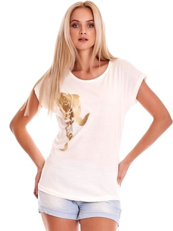 Ecru t-shirt ze złotą różą