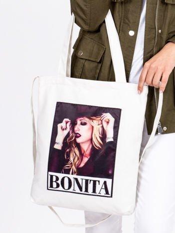 Ecru torba ekologiczna z naszywką kobiety BONITA