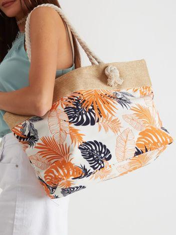 Ecru torba w tropikalny wzór