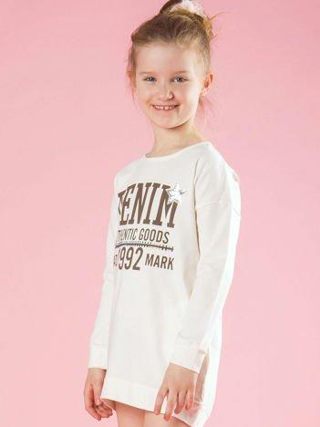 Ecru tunika dziewczęca z nadrukiem