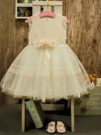 Ecru wizytowa sukienka dla dziewczynki z odpinaną różyczką