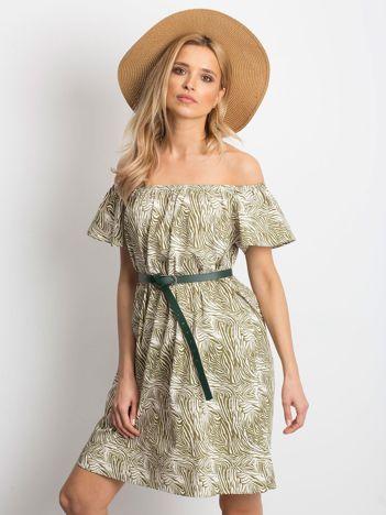 df350ed358 Ecru-zielona sukienka Mansion