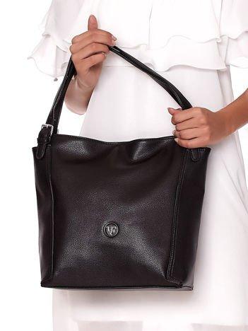 Elegancka czarna torba z eko skóry z logo