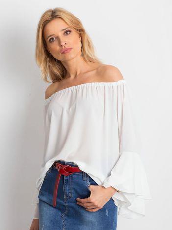Elegancka gładka bluzka hiszpanka biała