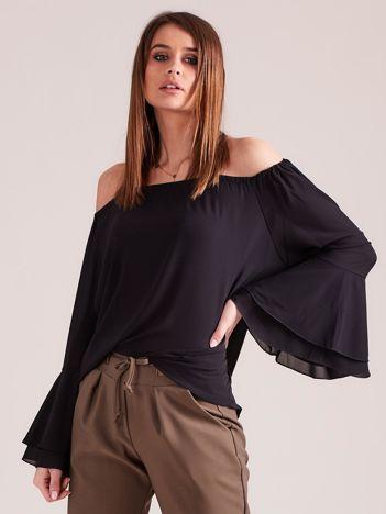 Elegancka gładka bluzka hiszpanka czarna