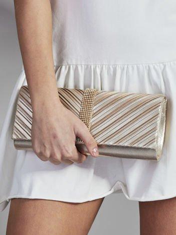Elegancka kopertówka z ozdobną listwą z dżetów złota