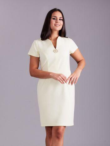 Elegancka sukienka damska jasnożółta