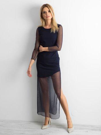 Elegancka sukienka maxi granatowa