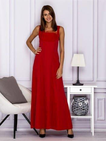Elegancka sukienka wieczorowa maxi czerwona