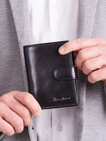Elegancki pionowy portfel męski czarny