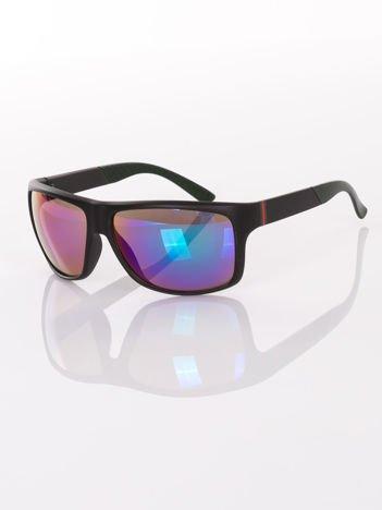 Eleganckie męskie czarne okulary przeciwsłoneczne w SPORTOWYM SYTLU