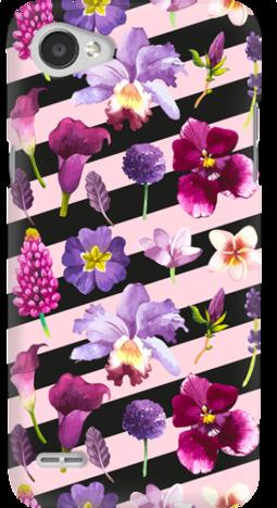 Etui do telefonu LG Q6 Flowers & Sripes