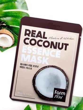 FARMSTAY Real Coconut Essence Mask Koreańska maseczka z kokosem - nawilżenie & odżywienie