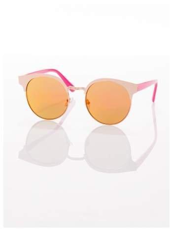 FASHION okulary przeciwsłoneczne KOCIE OCZY stylizowane na FENDI różowo-złote