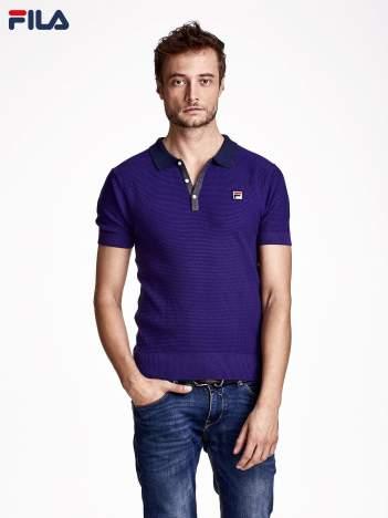 FILA Fioletowa koszulka polo męska o wyrazistej fakturze