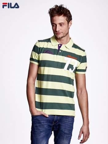 FILA Zielona koszulka polo męska w szerokie pasy