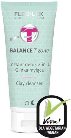 FLOSLEK BALANCE T-zone Instant detox 2 w 1 Glinka myjąca & Maseczka do cery tłustej i mieszanej 125 ml