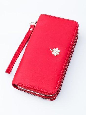 FLOWER Duży poczwórny portfel damski ETUI NA SMARTFON KOPERTÓWKA