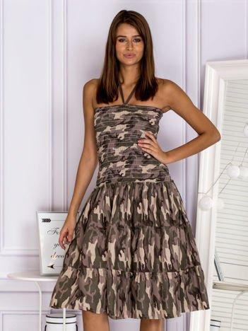 FUNK N SOUL Bawełniana sukienka moro ciemnozielona