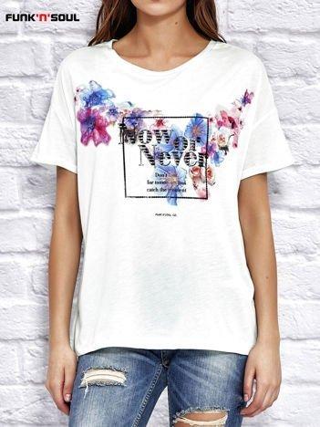 FUNK N SOUL Miętowa bluzka z kwiatowym motywem