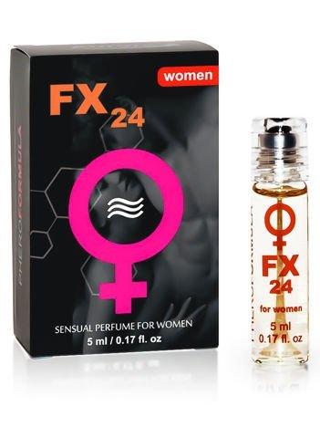 FX24 for women Specjalnie dobrany zestaw składników działa na mężczyzn niezwykle pobudzająco! Podniecający zapach! 5 ml
