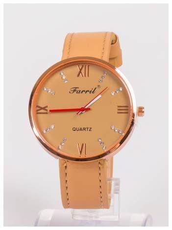 Farril -Klasyka i elegancja beżowy damski zegarek retro z cyrkoniami -Rose gold