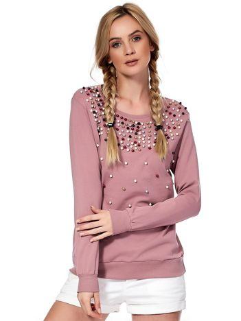 Fioletowa bluza z kolorowymi perełkami
