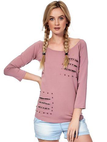 Fioletowa bluzka z kolorowymi perełkami i rozcięciami