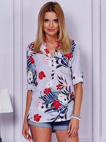 Fioletowa bluzka z motywem kwiatowym