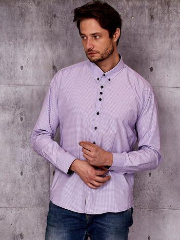 Fioletowa koszula męska w kratkę PLUS SIZE