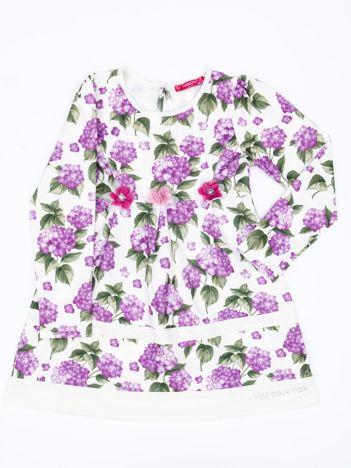 Fioletowa sukienka dla dziewczynki w kwiaty z tiulową aplikacją