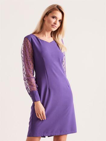Fioletowa sukienka z mankietami
