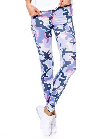 Fioletowe legginsy w abstrakcyjne wzory