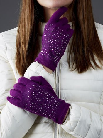 Fioletowe rękawiczki z dżetami