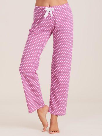 Fioletowe spodnie do spania w groszki