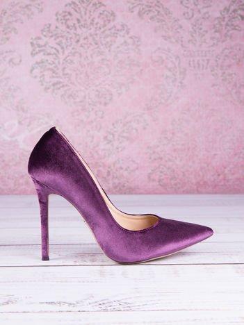 Fioletowe welurowe szpilki w szpic Purple Velvet