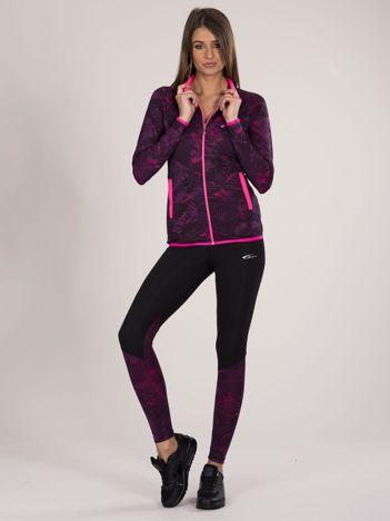 Fioletowo-czarny dwuczęściowy komplet fitness