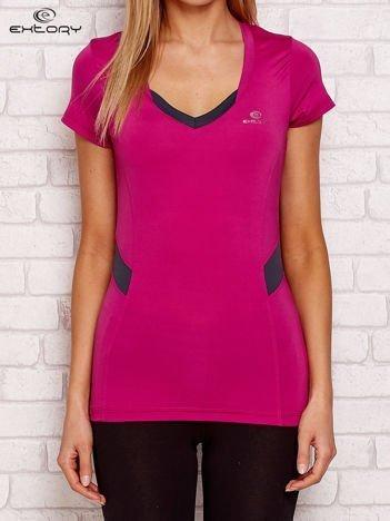 Fioletowo - grafitowy t-shirt z kontrastowymi wstawkami