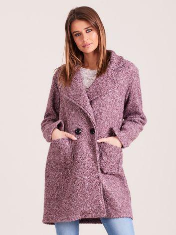 Fioletowy dzianinowy damski płaszcz