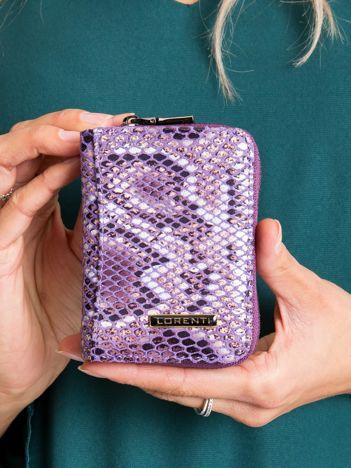 Fioletowy mały portfel we wzory