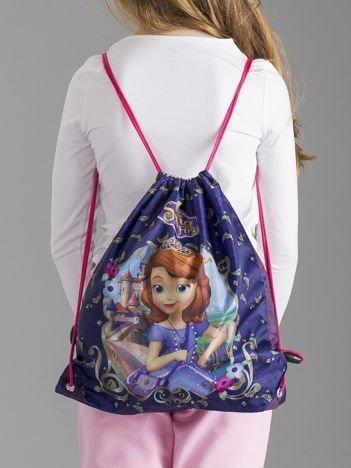 Fioletowy plecak worek dziewczęcy z nadrukiem