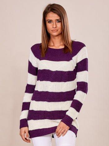 Fioletowy sweter damski w paski