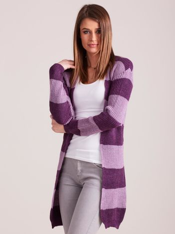 Fioletowy sweter w pasy